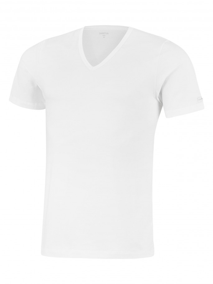 T-shirt Col V Cotton Stretch