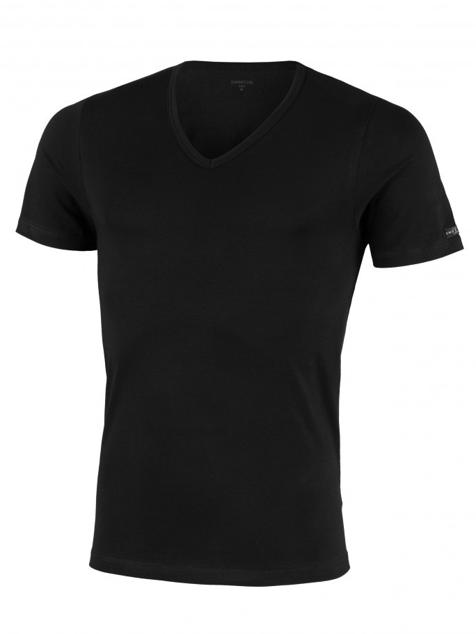 V-neck T-shirt Cotton Stretch