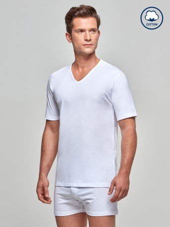 T-shirt Col V Pure Cotton